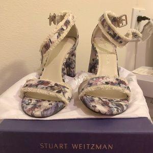 Stuart Weitzman Frayed Block Heel Sandal
